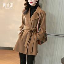 Brand double-sided cashmere coat womens small Korean version loose slim fashion woolen coat long autumn and winter