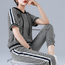 Casual sports suit womens spring and summer 2021 new thin section large size brand short-sleeved fashion two-piece suit