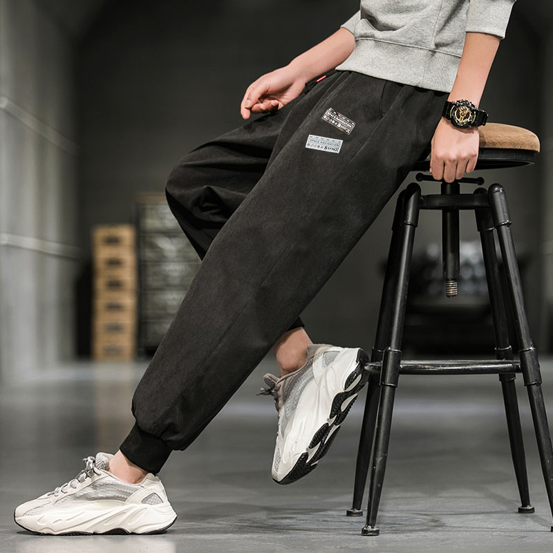 Casual long pants mens autumn and winter hundred with the Korean version of the trend of workwear tide brand loose feet nine points sports mens pants