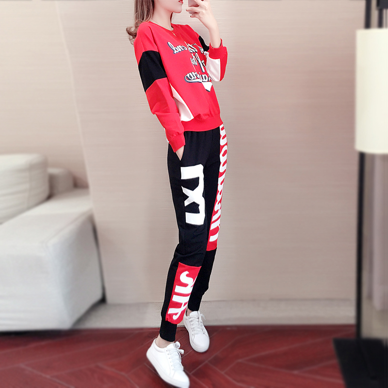 Hong Kong trendy temperament sports and leisure suit womens autumn 2020 new fashion hip-hop fashion two-piece set
