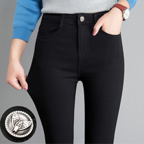 Leggings outside the female wear thin models 2019 spring and Autumn Winter new wild significant thin feet high waist plus velvet black pencil pants