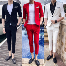 Mens summer slim fit cropped sleeve youth British suits