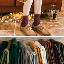 8 pairs of socks girl cotton stockings socks South Korea in solid colors for fall winter womens cotton socks in winter padded socks