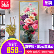 Pure hand-painted new Chinese Xuan oil painting rich peony Flower Vertical edition decorative painting corridor aisle background wall hanging painting