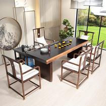 New Chinese solid wood tea table and chair combination Modern simple Zen tea table Tea table Wood office Kung fu tea table