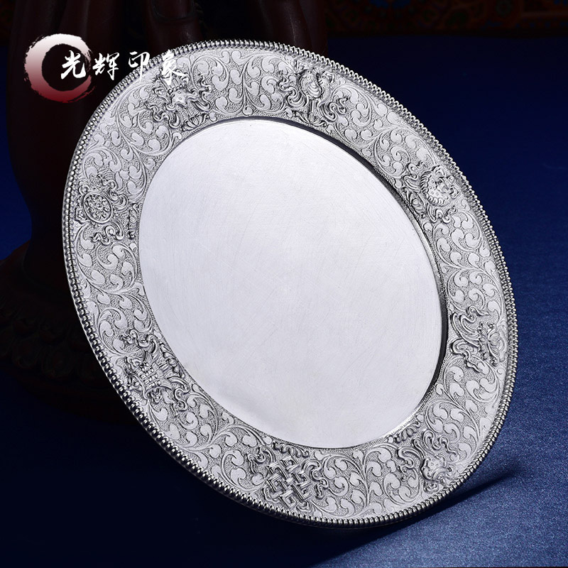 S99 sterling silver eight auspicious Manza plate foot silver for repair semi-manual Manza 10cm tray full set of Mizon Mancharo