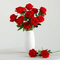 Simulation rose salon décoration TV cabinet arrangement de fleurs fleur en soie unique en plastique faux bouquet de fleurs séchées fleur décoration
