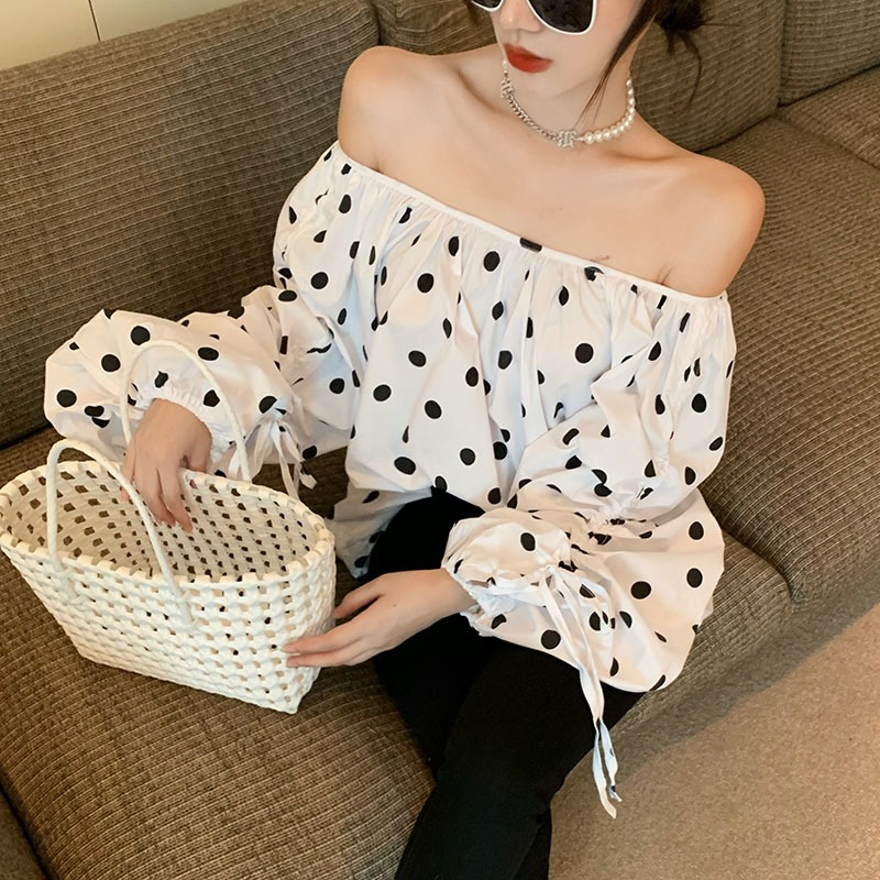 2021 summer new white T-shirt French puff sleeve one shoulder loose long-sleeved chiffon shirt wild top women