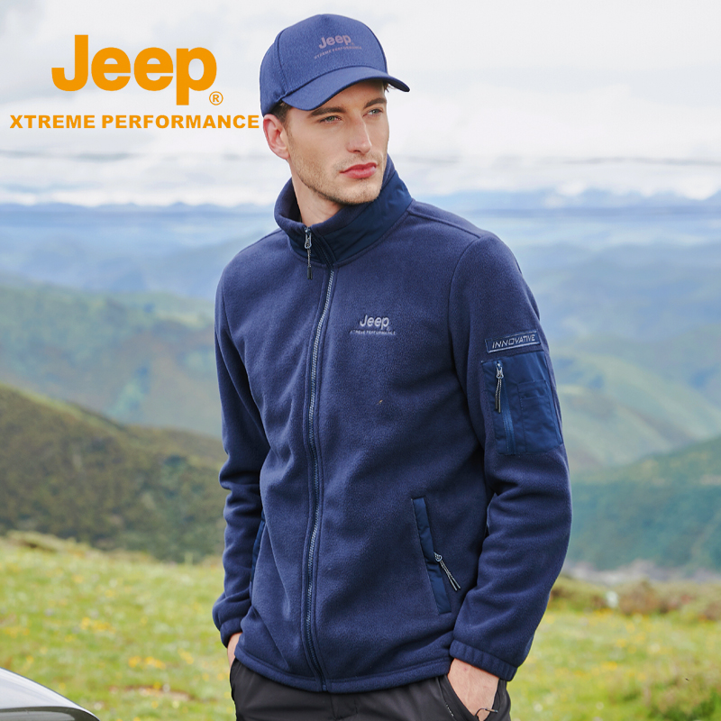 Jeep scratched the velvet mens outdoor double-sided rocker velvet stormtrooper inside the bile warm hooded plus velvet plus thick large size jacket