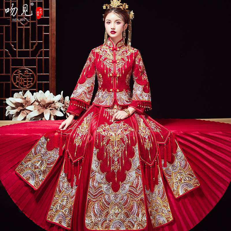 Show clothes 2020 new wedding bride show thin toast dress size Chinese wedding dress out of the pavilion dress show and gondic
