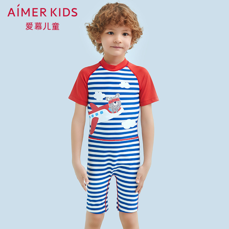 Admiration for Children Boys Swimming Suit Stripe Aircraft Boys Short-sleeved Swimming Suit AK2671563