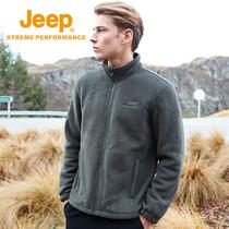 Jeep Jeep Warm thickened fleece coat male outdoor catch velvet fleece men velvet double-sided velvet