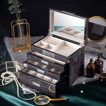 High-grade multi-layer large capacity black jewelry box Earrings jewelry ring watch cosmetics Wedding gift storage box