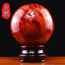 高端天然红水晶球摆件招财红色风水球客厅办公室居家装饰鸿运当头