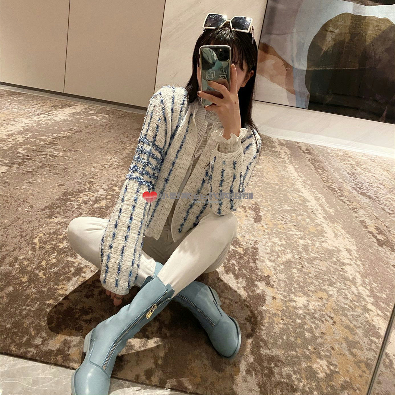 TB Thom2021 new item early spring TB female light blue knitted four-channel striped knitted jacket
