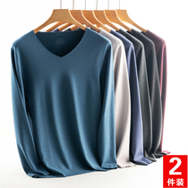 Mens de velvet seamless thermal underwear men thickened cashmere self-heating autumn clothes bottoming shirt wear suit tops winter