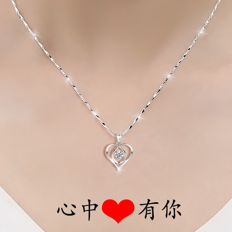 999 sterling silver necklace women light luxury niche collarbone chain 2021 new pendant birthday gift to girlfriend