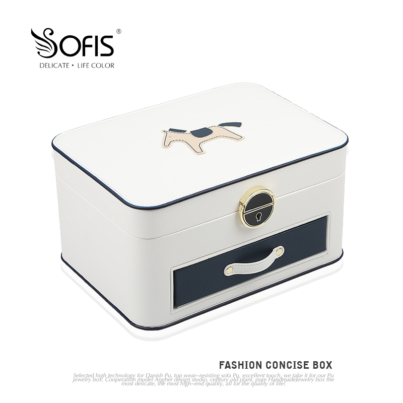 Sofis small horse multi-layer large jewelry box jewelry collection box earring box jewelry containing box with locking mirror Korea