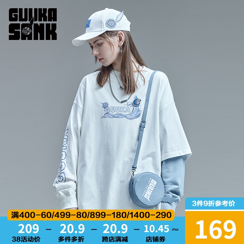 GUUKA and SANK Tibetan co-branded white long-sleeved T-shirts for the ins trendy hip-hop couple fake two-piece long T-loose