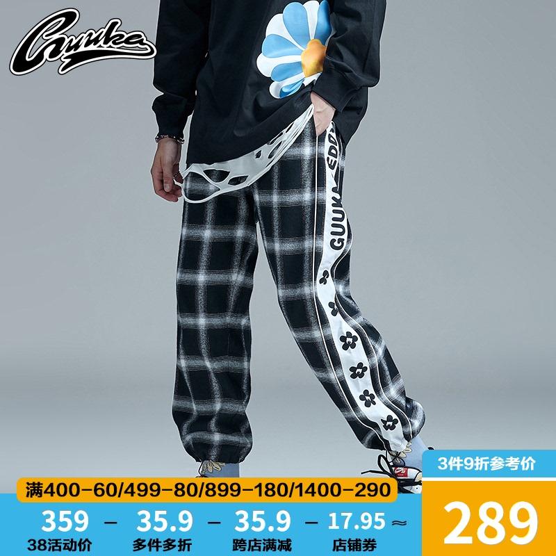 GUUKA black and white plaid pendant pants mens hip-hop side string string draw rope sweatpants loose