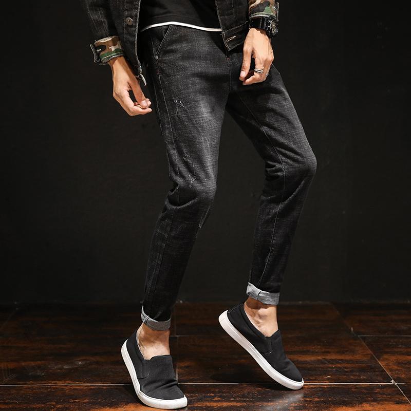 秋冬牛仔裤男秋季新款韩版潮流修身青少年男士弹力加绒小脚长裤子