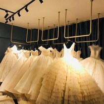 Golden wedding dress shelf Wall wedding hanger Hanging photo studio special dress shelf Womens shop ceiling hanger