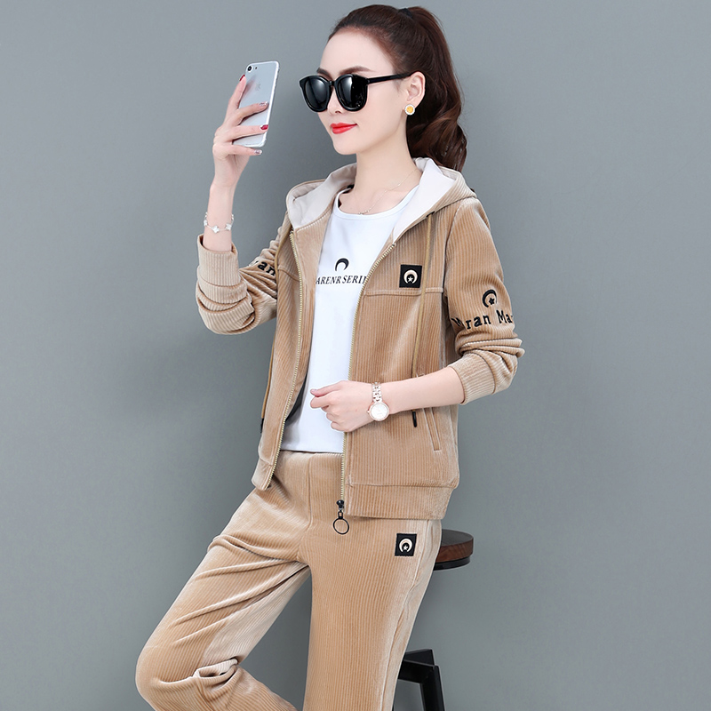 Sports and leisure suit womens high-end new gold velvet spring Korean version of the fashion hood show thin guard dress womens three-piece set