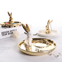 Nordic wind ceramic jewelry display tray Golden rabbit storage tray shooting props bedroom small jewelry ornaments