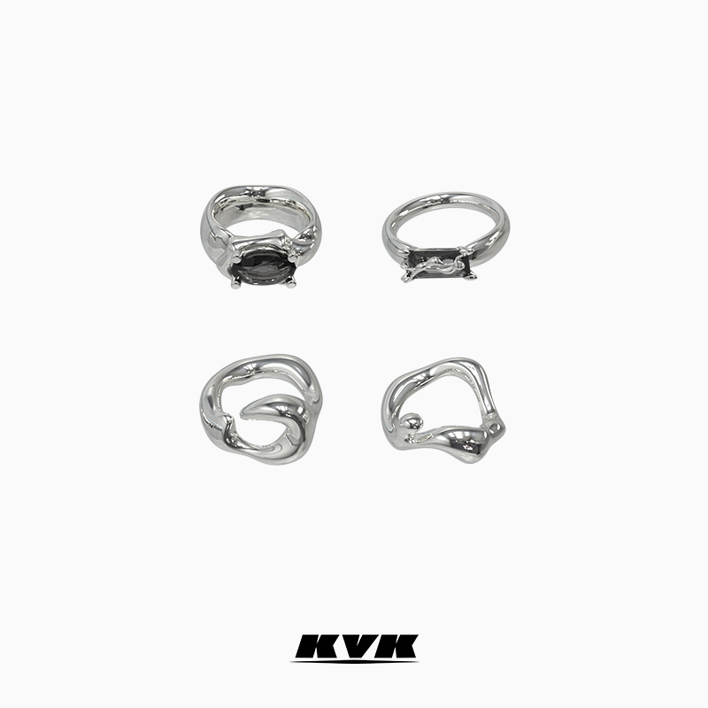 KVK pure silver ring female niche design simple cold wind poison combination ring set fashion personality ring