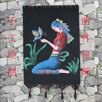 National wind heavy color painting miao old batik table wall Guizhou Anshun Special gift crafts decorative hanging cloth hand-painted