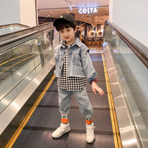 Small childrens clothing boys spring and autumn clothing set 2020 Korean version of the new childrens cowboy three-piece 2019 spring models of foreign tide