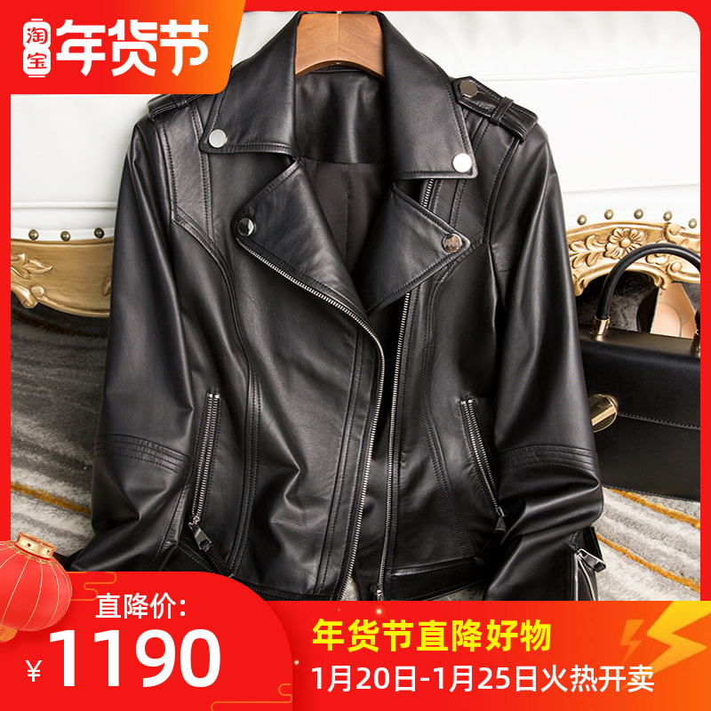 Black leather jacket women autumn and winter short small loose show thin Korean version of imported tire cattle locomotive leather jacket