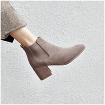 Womens shoes 2019 new winter round with boots women high heeled boots Martin boots Women British style Chelsea boots women