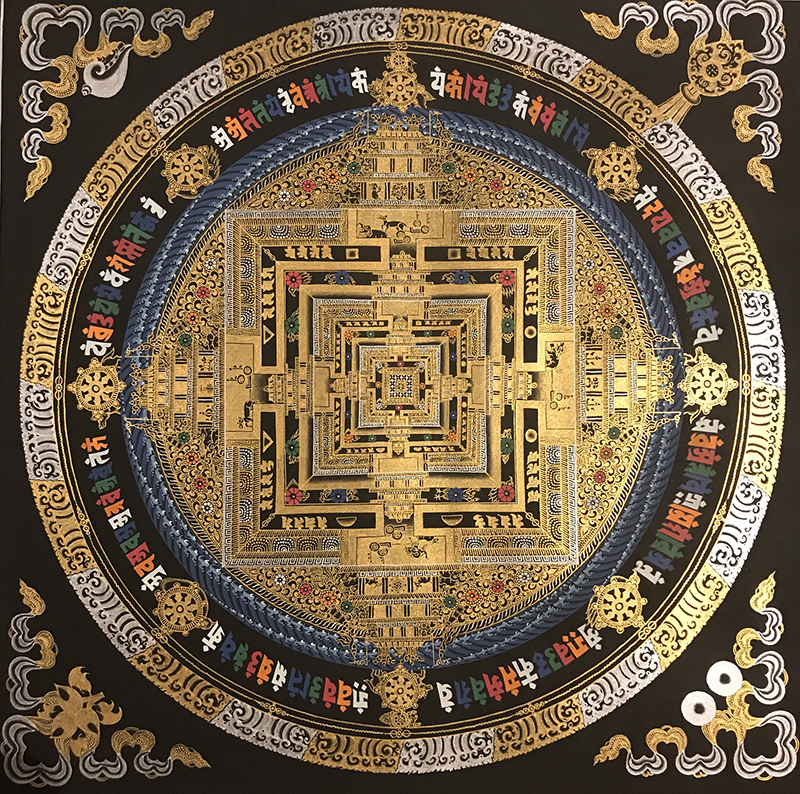Tangka Tibet hand-painted Nepal tracing gold black gold temple city when the wheel King Kong living room Xuanguan decorative painting hanging gift
