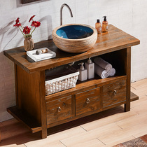 Ancient antique antique pastoral solid wood wood Elm washbasin bathroom cabinet classical Chinese bathroom cabinet combination