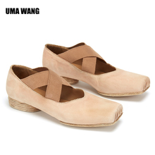 UMA Wang handmade square head flat bottom lace up fairy ballet shoes available in many colors and handmade