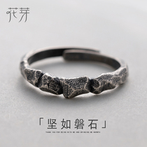 Flower bud original design rock-solid index finger ring female pure silver personality simple Japanese and Korean tide student tail ring small.