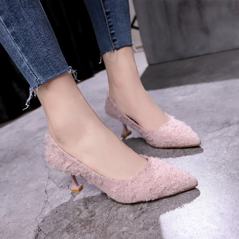 Spring 2019 New High-heeled Fine-heeled Suede Shallow-mouthed Single Shoe Women's Fashion Low-Up Shoes Tip-top Women's Shoes Work Shoes