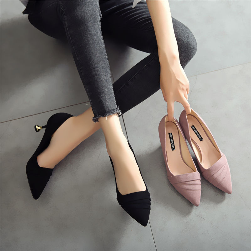 Pointy cat heels new French girls' high heels spring and summer 2019 thin heels black fashion single shoes women's middle heel