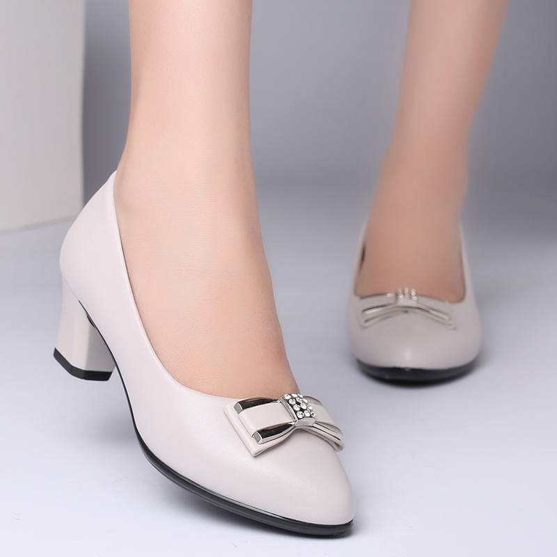 Mother's Shoes and Women's Shoes Summer 2018 New Korean Version 100-tie Butterfly-knot Rough-heeled Single Shoes for Middle-aged and Fashionable Women's Shoes