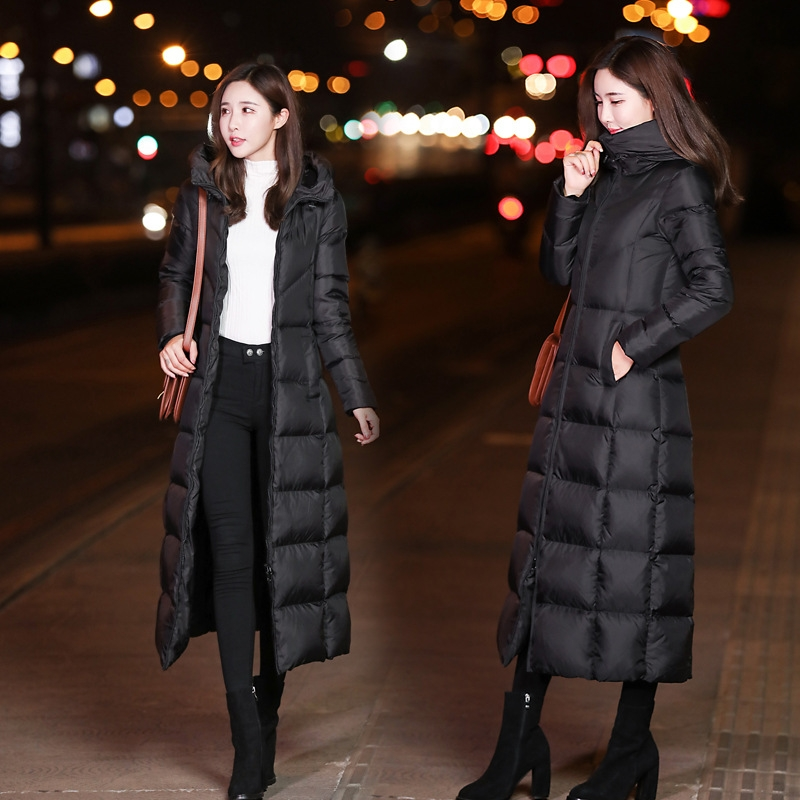 Ultra-long down cotton dress womens winter 2020 new thickened waist cotton clothing burst over knee-length cotton jacket