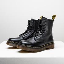 Mens Boots Martin Boots Mens High Barrel British Wind Leather Workwear Boots Tide Ins Mid-Barrel Mens Boots Winter Velvet