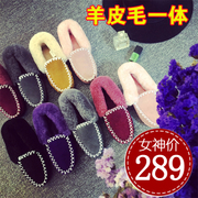 The new female leather shoes shoes bun fur fur sheep black shoes boots boots with cashmere Beanie shoes