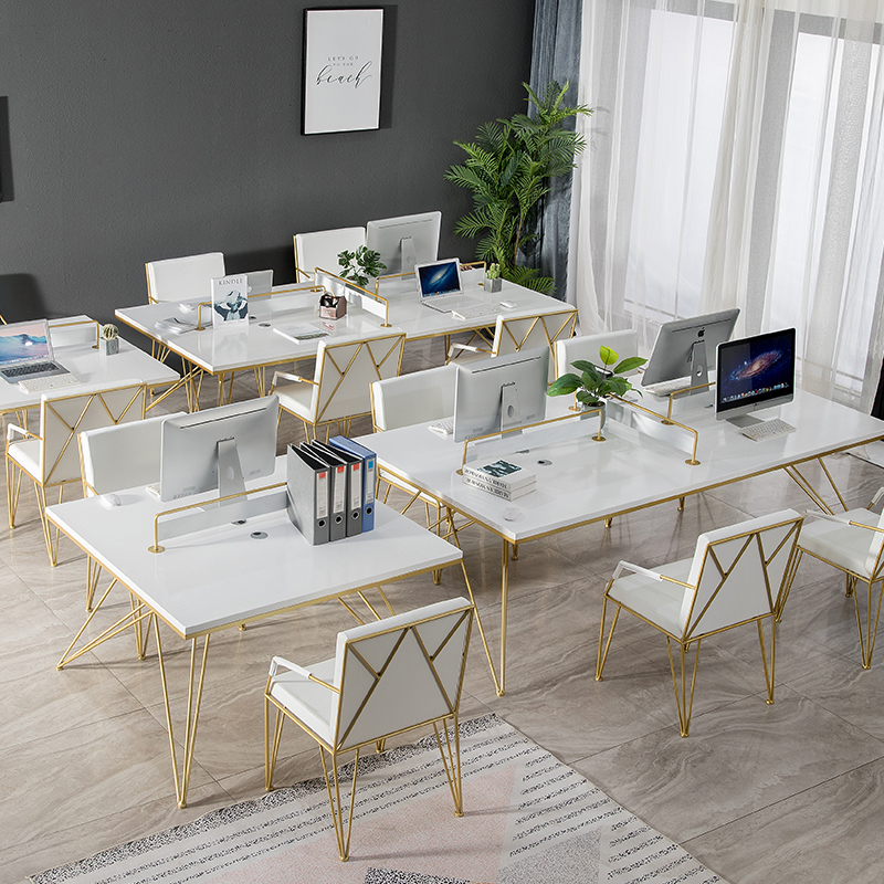 Simple modern solid wood screen work table and chair combination office computer table staff table multi-person work space