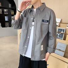 Men's Long Sleeve Shirts Summer Thin Net Red Man Shirts Korean Edition Fashion Autumn Loose Clothes