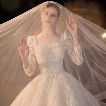 Long sleeve main wedding dress 2021 new bride small man tailing French high texture go out gauze Palace style