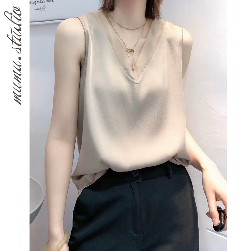 (Mulberry silk)Suit with camisole Feminine acetate satin base Simple silk sleeveless top