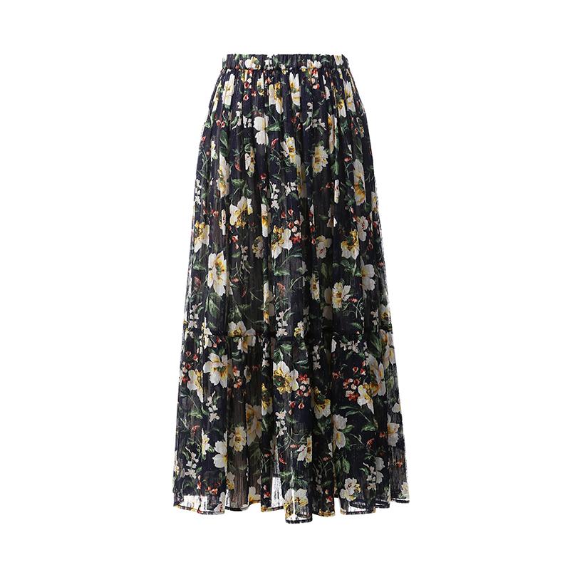 Ebisu (QZ0505800) Japanese Kyoto strong flower print Japanese material level beauty big skirt