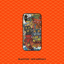 Blacktoo money to send fortune Black Cat mobile phone shell Creative relief mobile phone shell scrub Iphonex 8Plus