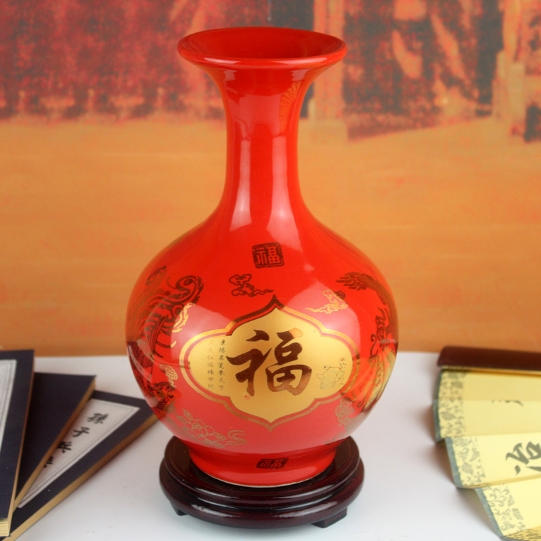 Preface Qiang Jingdezhen Ceramic Bottle, Chinese Red Porcelain Arrangement, Desktop Living Room Arrangement, Wedding Gifts Creative Arrangement